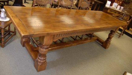 Chunky abbey farmhouse refectory table oak rustic tables for Rustic farm tables for sale