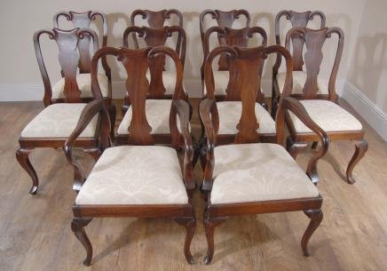 10 mahogany english queen anne dining chairs chair for for Dining room chairs queen anne