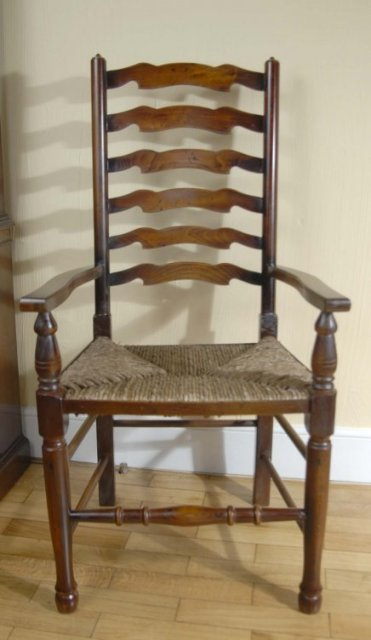 ENGLISH FARMHOUSE REFECTORY TABLE & 8 LADDERBACK CHAIRS For Sale