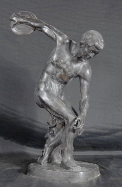 Classic Greek Olympic Discus Athlete Bronze Sculpture For