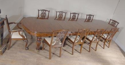 XL English Mahogany Victorian Dining Table Set Chippendale