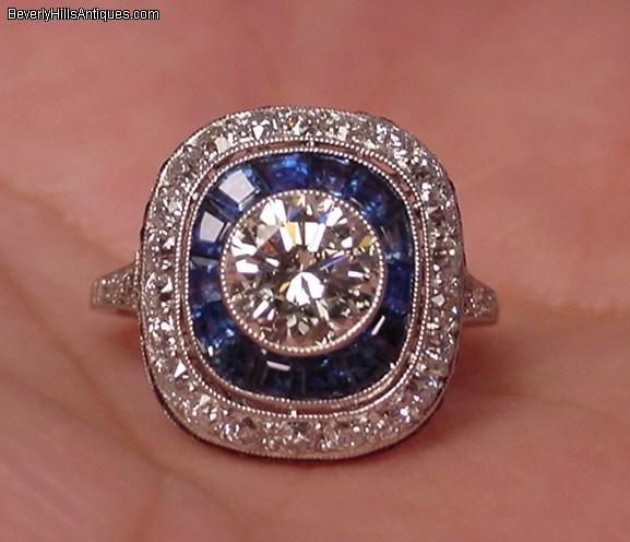 Art Deco Design 1 50c Diamond Platinum Sapphires Ring For