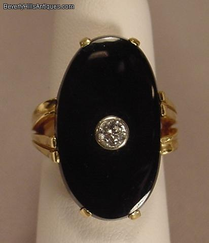 Vintage Diamond Black yx 14k Lady s Ring For Sale