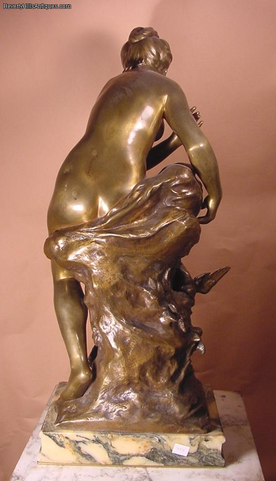 Antique Bronze Nude Lady Lafille Duseau Moreau For Sale