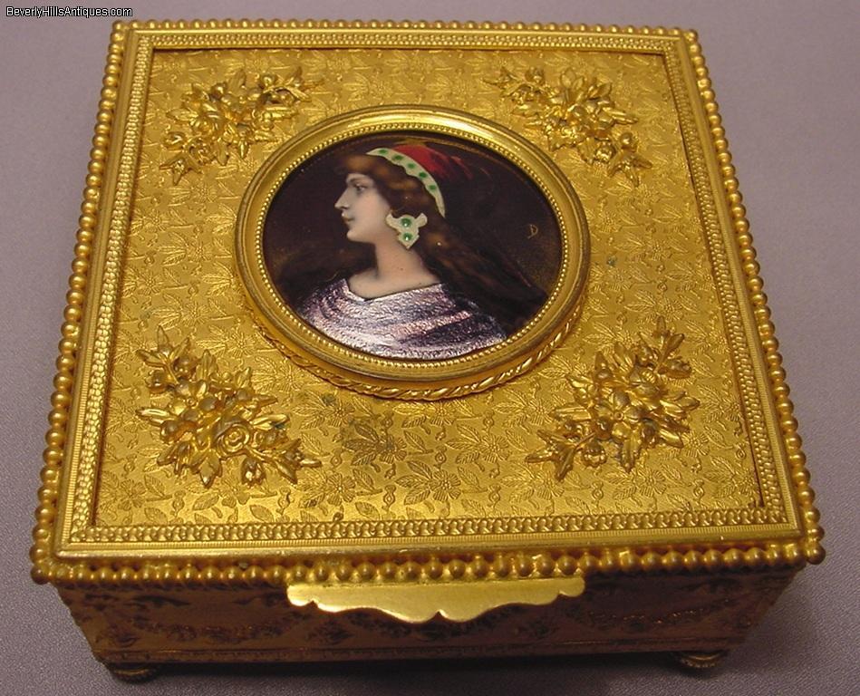 74a352804c45 Exquisite Antique Art Nouveau Enamel Jewelry Box For Sale | Antiques ...