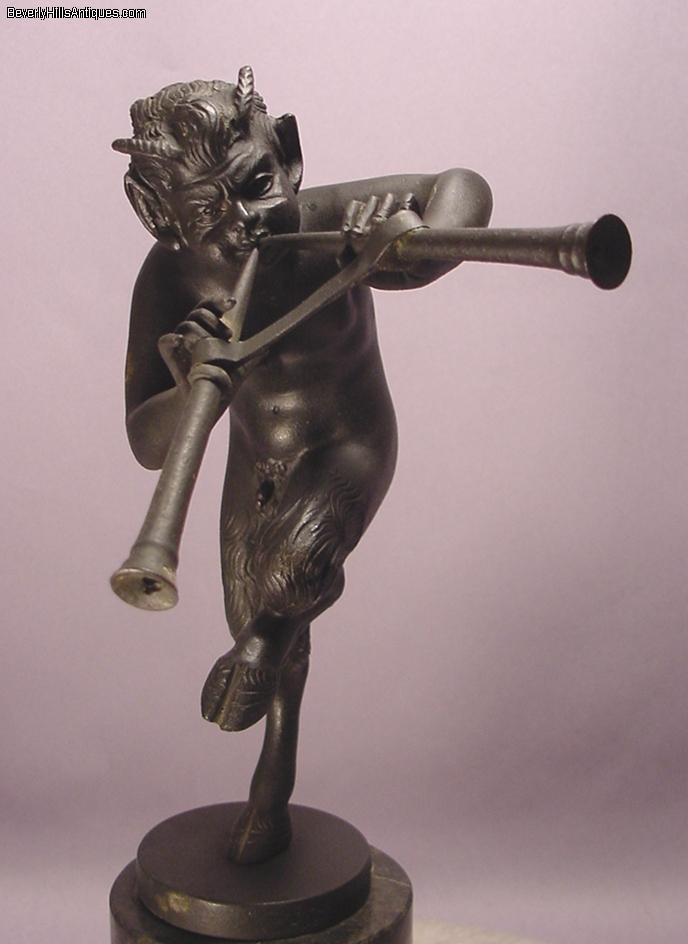 Antique bronze sculpture pan playing pipes for sale - Bronze sculptures for sale ...