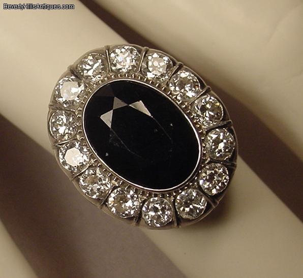 Antique Platinum Sapphire Diamonds Art Deco Ring For Sale Antiques