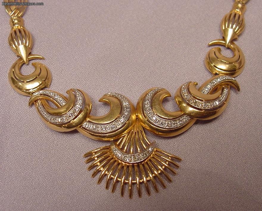 Antique 18k Gold Necklace 38 Diamonds 57 5 Grams For Sale