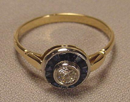 deco sapphire platinum gold ring for sale