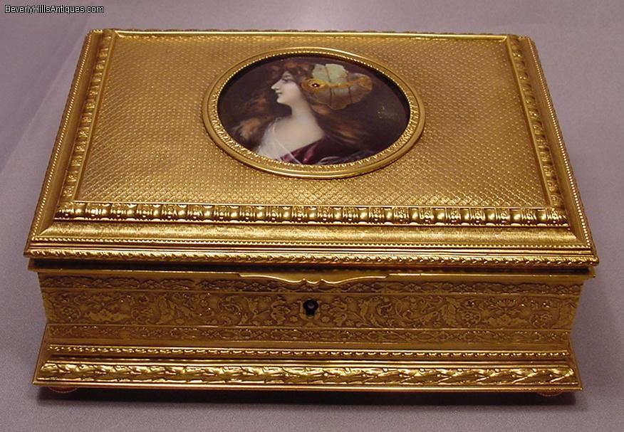 Large Antique Art Nouveau Enamel Jewelry Box Signed For Sale