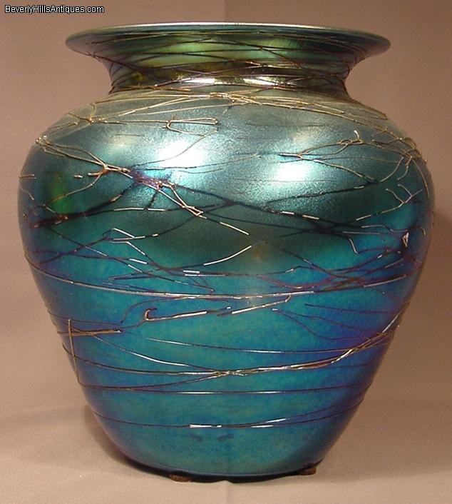 Superb Durand Blue Iridescent Threaded Art Glass Vase For Sale