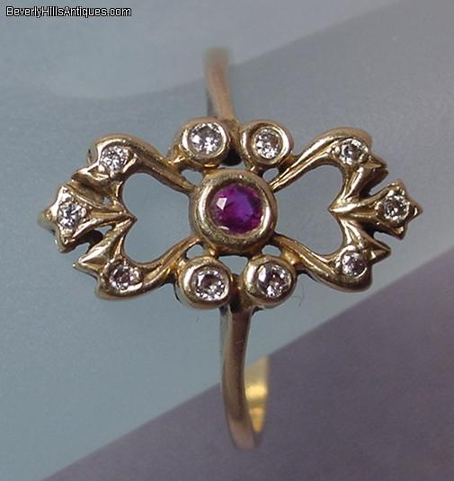 Antique Ruby Diamonds 14k Gold Ring For Sale Antiques
