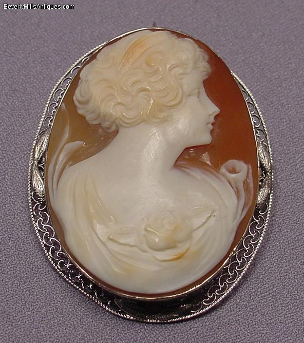 antique nouveau 14k wg cameo brooch pendant for sale