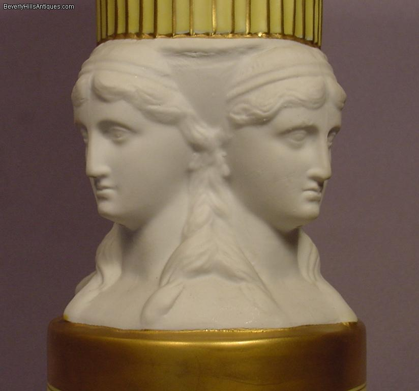 4 Female French Porcelain Heads Decorative Vase For Sale Antiques