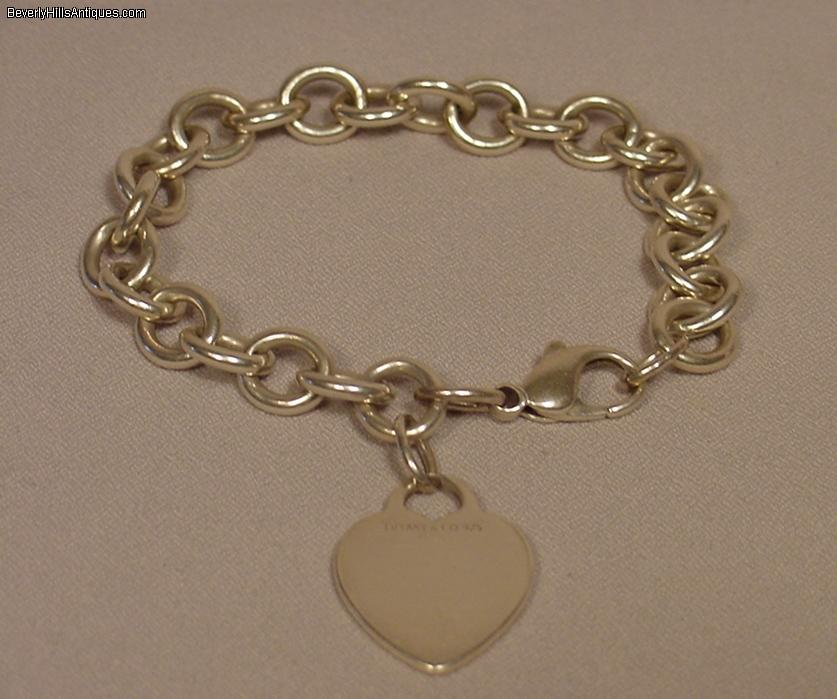 Tiffany Co Sterling Silver Heart Tag Charm Bracelet For Sale Antiques Com Classifieds