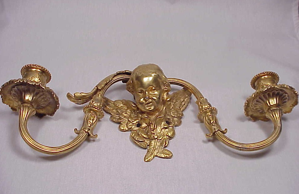 Beautiful Gilt Bronze Cherub Head Wall Sconce For Sale Antiques.com Classifieds