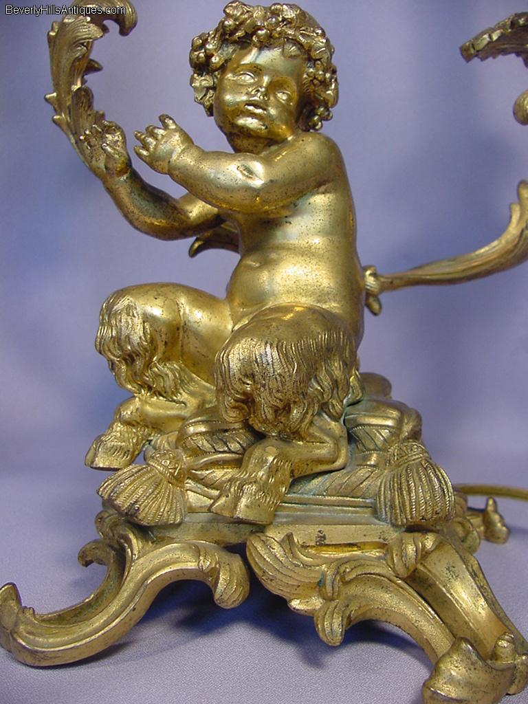 Superb Pair Gilt Bronze Baby Satyr Candelabras For Sale