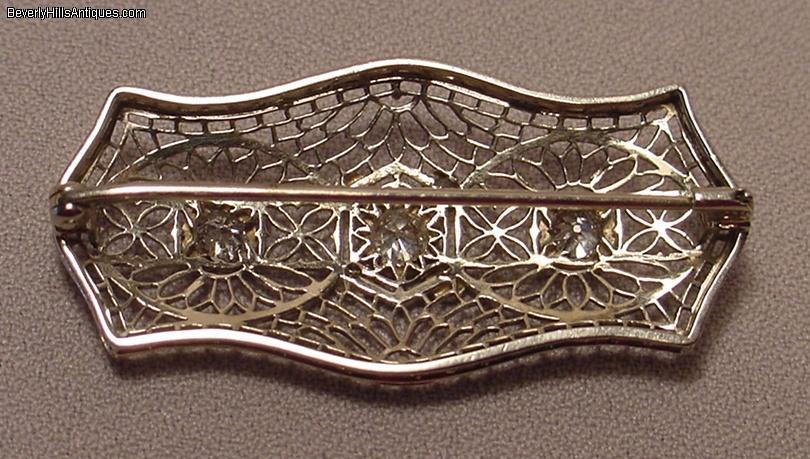 Antique Art Deco 14k Wg Diamonds Filigree Brooch For Sale