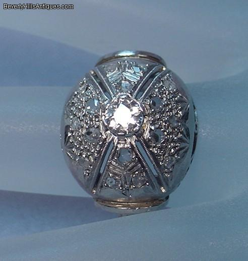 Antique Diamond Platinum Art Deco Cocktail Ring For Sale Antiques