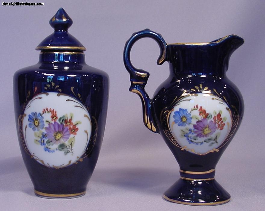 2 Hand Painted Cobalt Blue Floral Limoges Urn Pitcher For Sale