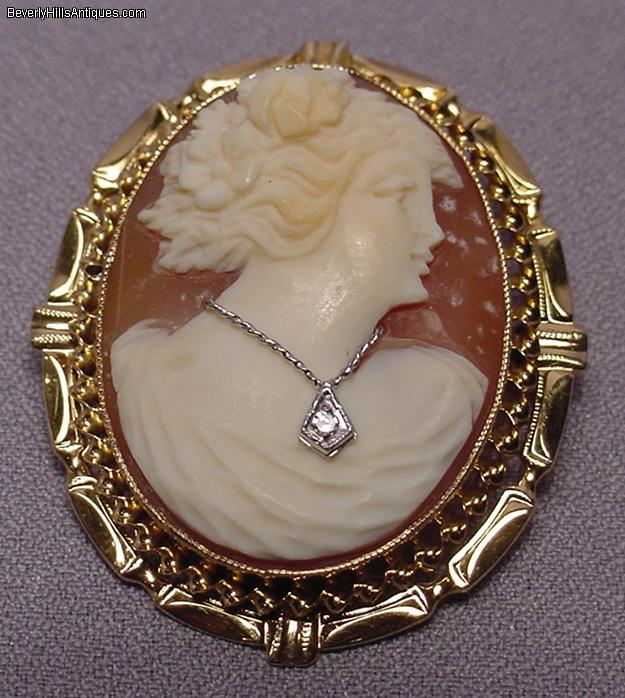 beautiful antique 10k gold diamond cameo brooch for sale