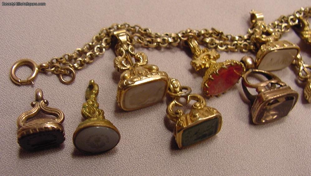 Antique Gold Filled 7 Fob Victorian Bracelet 5 Fobs For