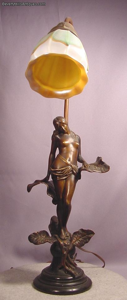 Antique Art Nouveau Bronze Fairy Lamp Art Glass Shade For