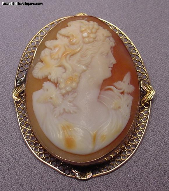 beautiful antique 14k cameo pendant brooch for sale