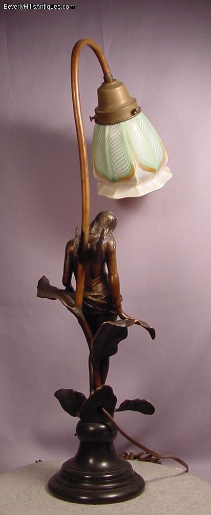 Beautiful Antique Art Nouveau Bronze Nude Fairy Lamp With Signed Art Glass  Shade. This Is A Period Art Nouveau Sculpture In Excellent Condition  Depicting A ...