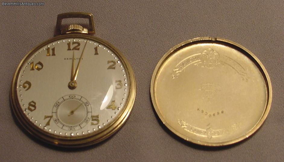antique hamilton 21 jewels 14k open pocket for