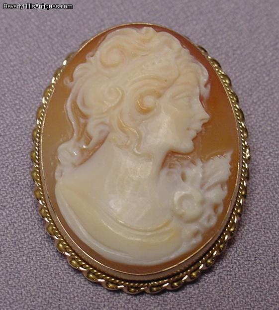 beautiful antique 14k cameo brooch pendant for sale