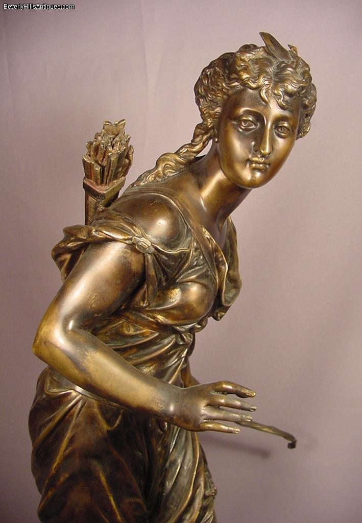Antique Bronze Sculpture Of Diana By Moreau For Sale