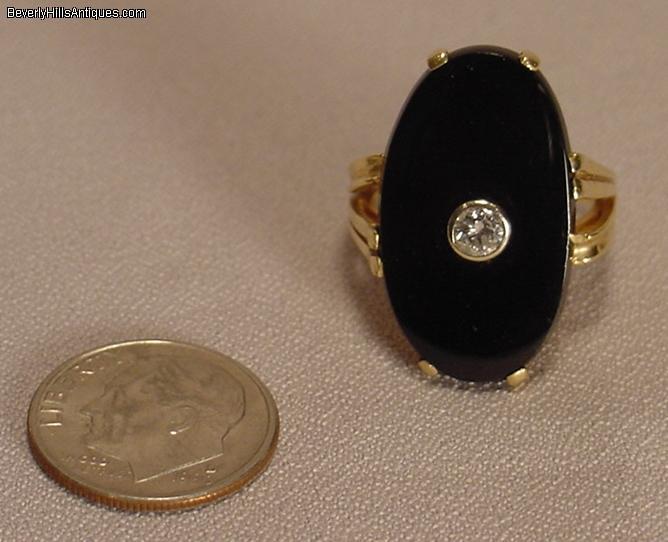 vintage black onyx 14k s ring for sale