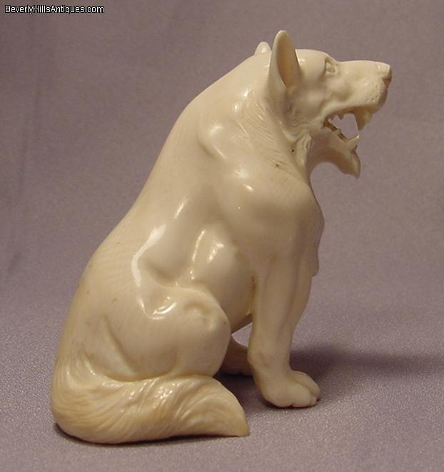 Rare Fierce Carved Ivory Large Wolf Like Netsuke For Sale