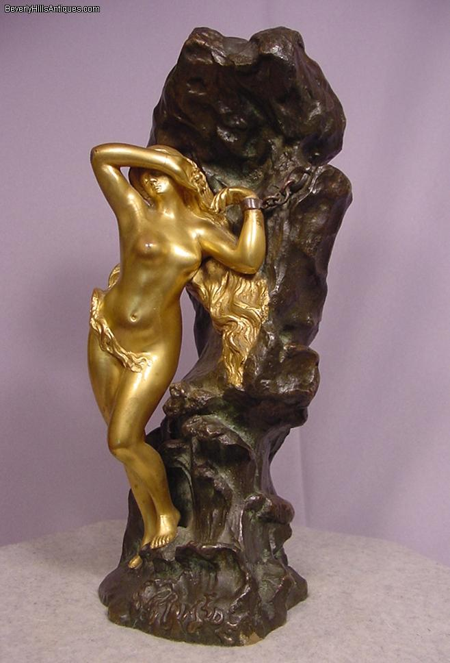 Antique Bronze Sculpture Andromeda By Ernest Wante For