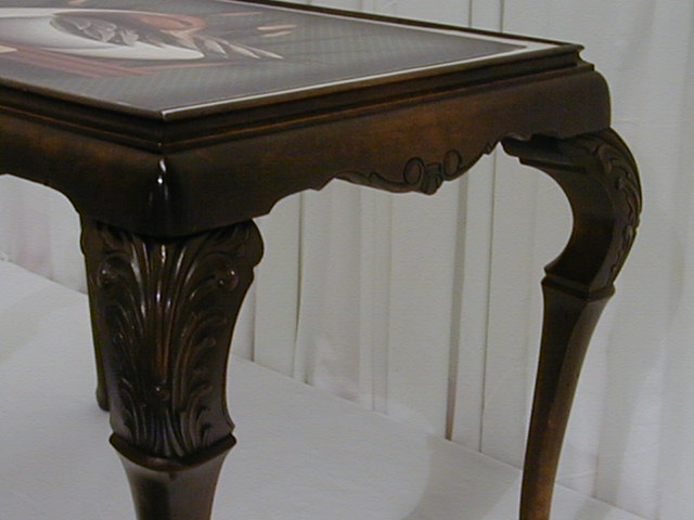 coffee table w ornate legs glass top w great duck print for sale classifieds. Black Bedroom Furniture Sets. Home Design Ideas