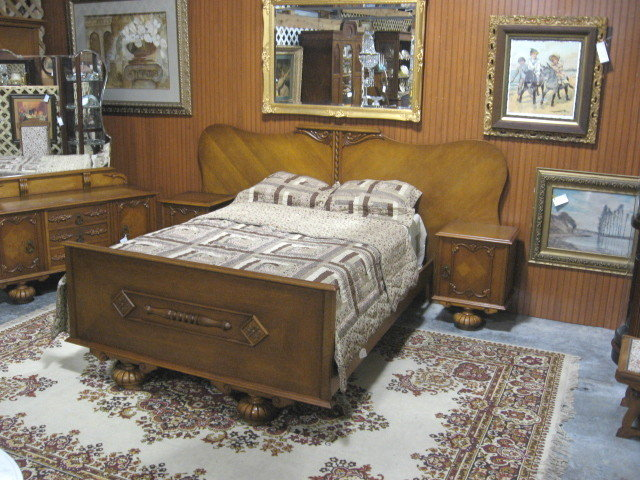 Depression Era Deco Bedroom Suite Bed Dresser Wardrobe For