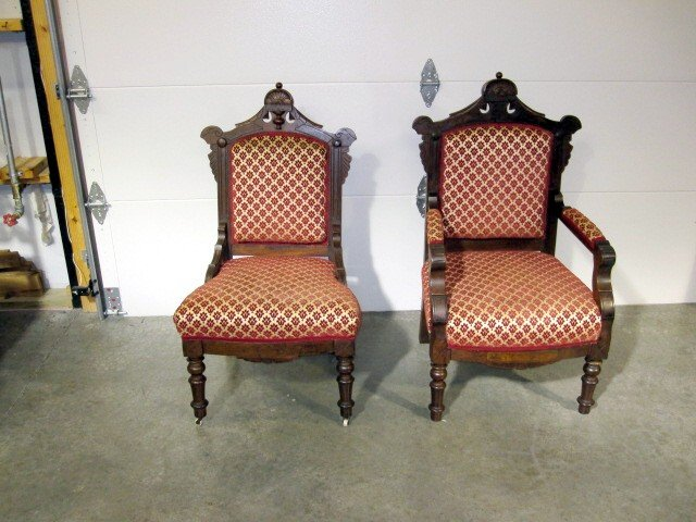 We have for sale a matching pair of Victorian style antique chairs. One is  armless and the other has arms. They are called a ladies and gentleman's  chairs. - Pr Antique Victorian Ladies & Gentleman Chairs For Sale Antiques