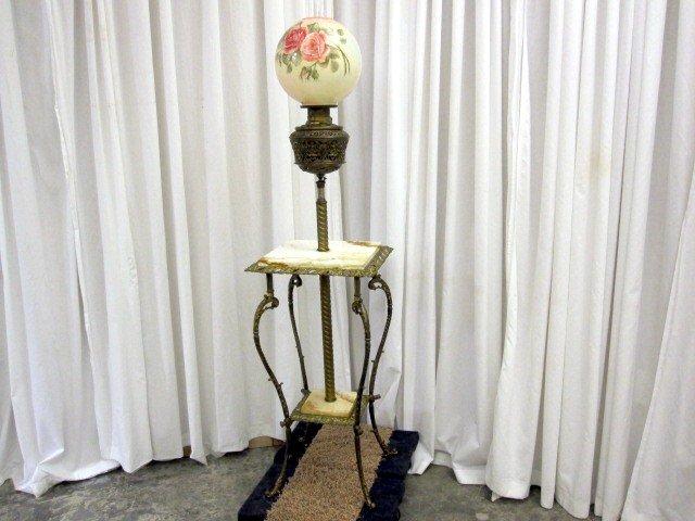 Antique Brass Piano Oil Kerosene Floor Lamp W Marble For