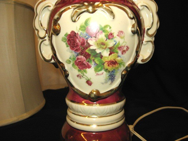 Victorian Porcelain Table Lamp Floral Painting Signed   For Sale