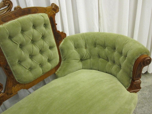 Antique Walnut Victorian Style Button Tuck Sofa Chaise For
