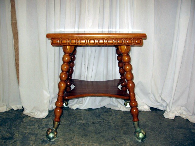We Have For Sale A Very Nice Lamp Table With Brass Claw Feet. The Table Has  Spool Style Legs That Graduates In Size With A Shelf Below The Table  Connecting ...
