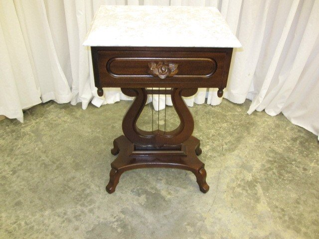 Wonderful Victorian Style Marble Top Table W Harp Base By Kimball   For Sale