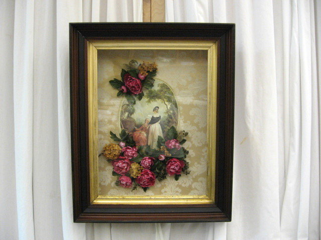 Antique Frame Shadow Box With Victorian Print Amp Flowers
