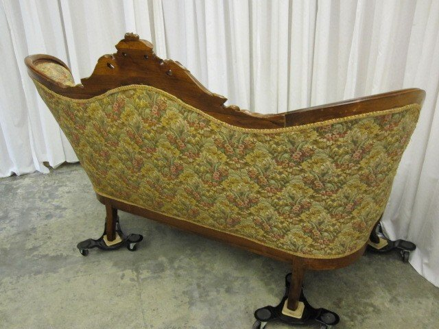 Antique Walnut Victorian Style Button Tuft Sofa Chaise For