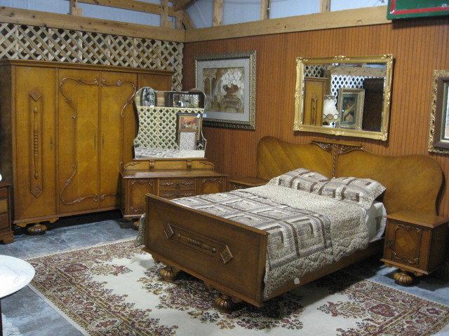 Depression Era Deco Bedroom Suite Bed Dresser Wardrobe For