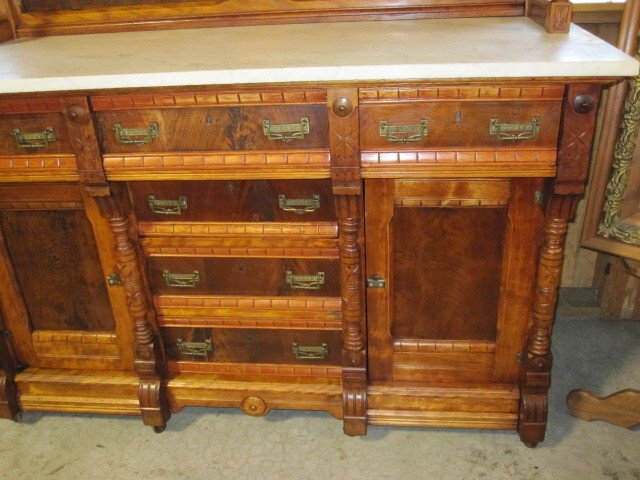 We Have For An Antique Etagere Buffet Server Cabinet The Has A Top That Six Beveled Mirrors With Shelf S On Sides