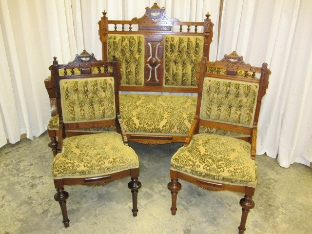 Mint Antique Eastlake Sofa With 2 Matching Chairs - For Sale - Mint Antique  Eastlake Sofa - Eastlake Antique Chairs Antique Furniture