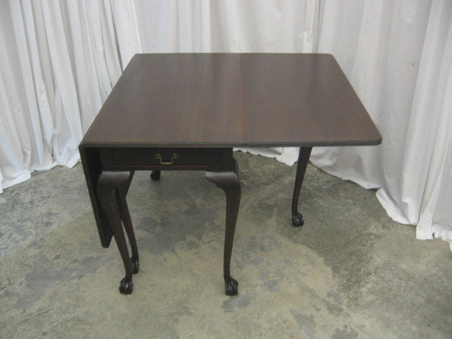Antique Gate Leg Drop Leaf Table With Flatware Drawer For
