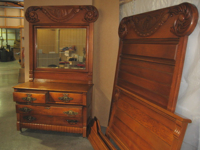 Extra nice antique hi back bed dresser with massive for Bed and dresser for sale